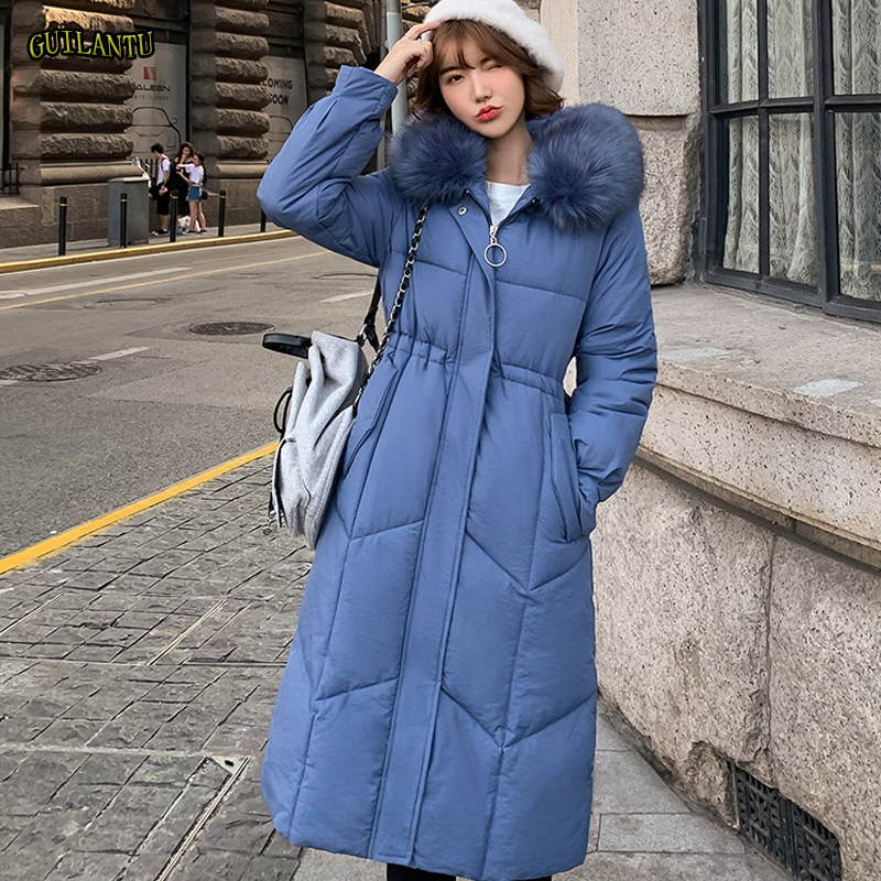2019 Fur Hooded Parkas Mujer Winter Thickening Warm Cotton Padded Long Paragraph Jacket Women Plus Size