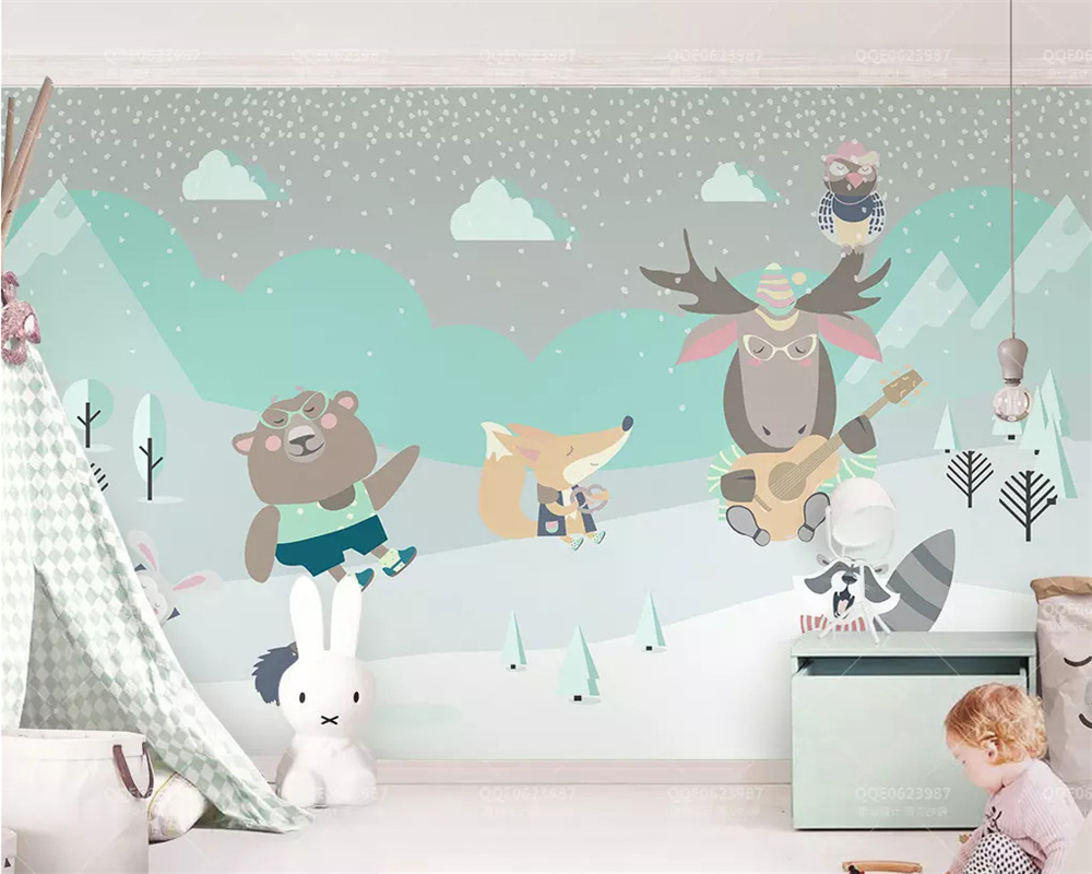 Beibehang Customized Modern Cute Goat Bear Rabbit Fox Cloud Children Background Wallpaper Papel De Parede 3d Papier Peint Behang