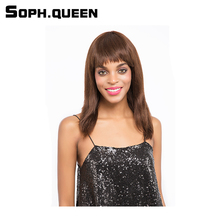Soph queen Hair Unprocessed Remy Human Hair Wig Brazilian Curly Hair Wig #4 Color Hair Wig 10Inch