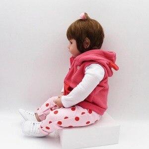 Image 5 - NPK Реалистичная коллекция, Спящая детская кукла, силиконовая кукла для тела, кукла симулятор, игрушечный домик, милая кукла 58 см, большой размер