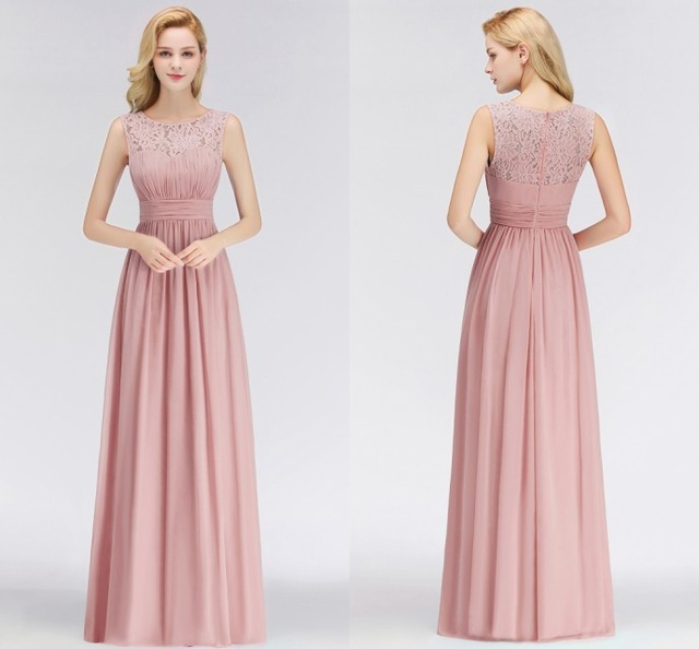 Купить с кэшбэком Misshow Evening Dress 2019 Pink Chiffon Long Formal Gown Scoop Neck Sleeveless Lace 2020  robe de soiree