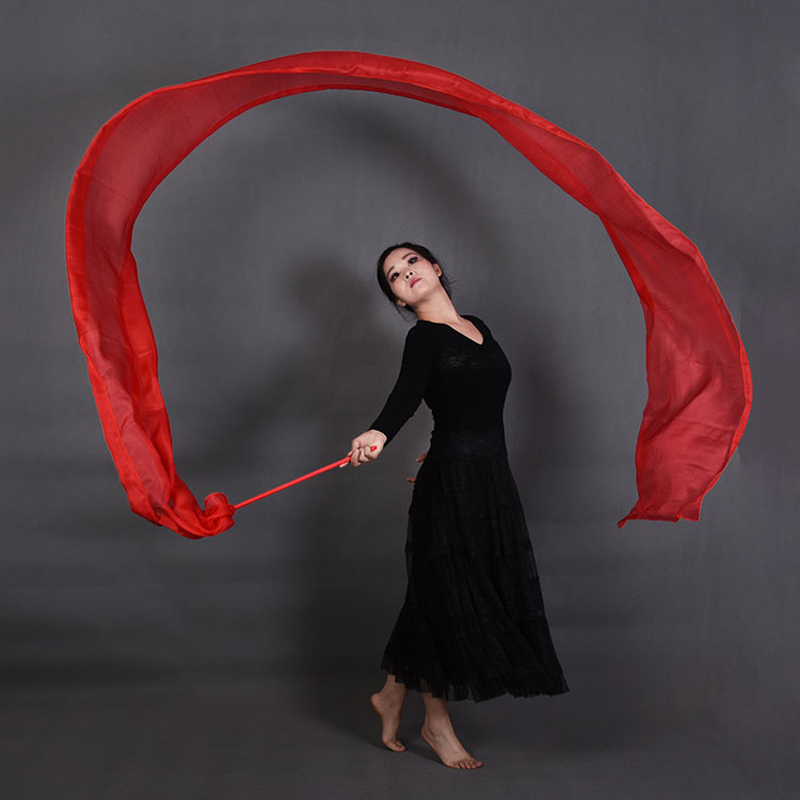 2018 Red color 100% real Silk Ribbon Streamer for Stage Performance Props Belly Dance Accessory Throwing Streamers 4M Length