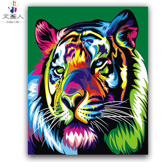 Us 7 22 44 Off Colorful Tiger Wolf Abstract Animal Painting By Numbers Handwmade With Paint Kits On Canvas Drawing For Coloring By Numbers In Paint