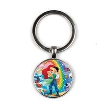 Fashion Anime The Little Mermaid Ariel keychain Princess & Prince Photo Glass Gem for Girls Kids Jewelry