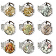 Map Key Chain Glass Pendant Literary Silver Jewelry Spanish Paris Phillipines Los Angeles Thailand Map Key Ring Traveller Gift thailand imports genuine gv new moon key pendant