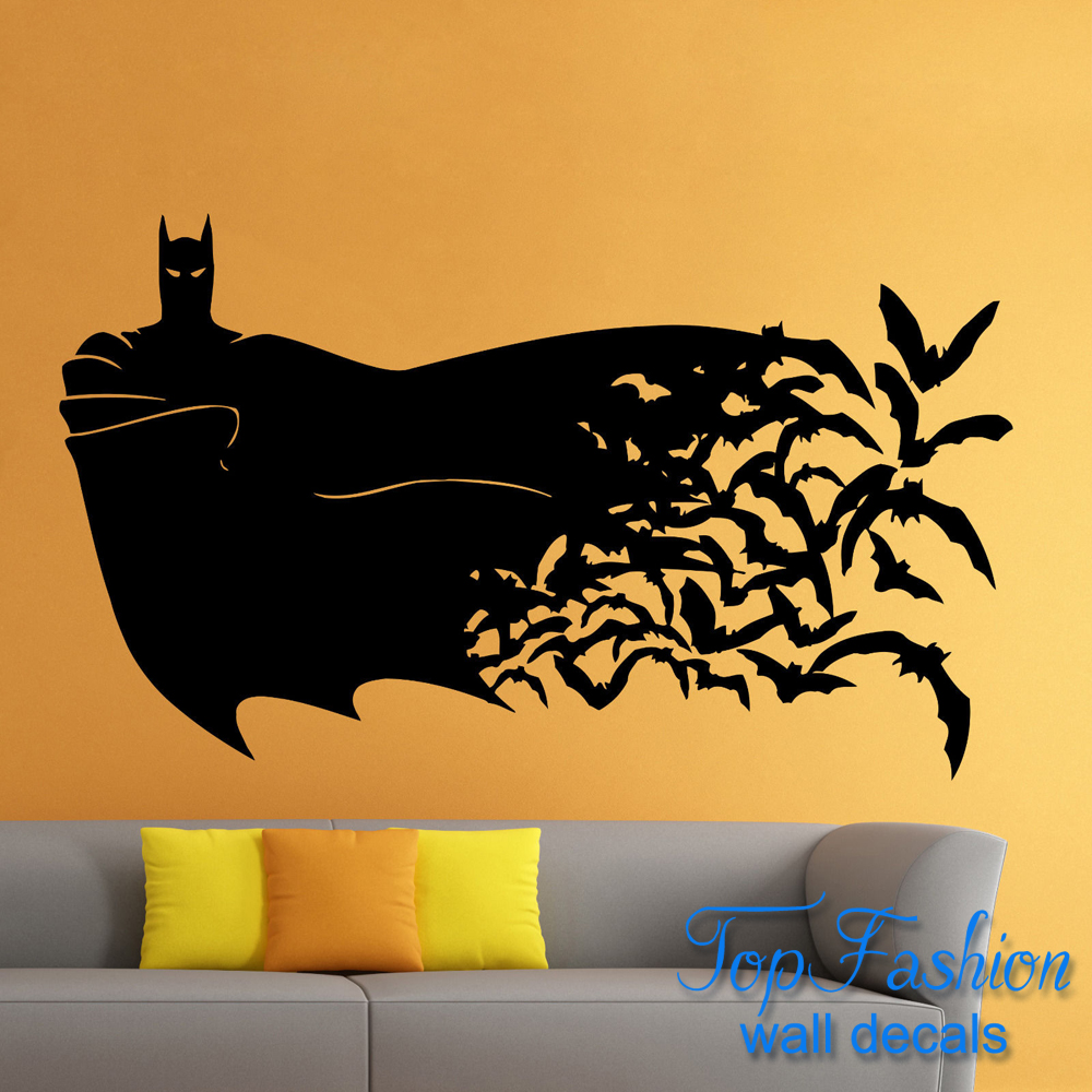 Batman wall decal roselawnlutheran batman wall decal the dark knight comics superhero wall atr sticker home decor children bedroom decoration amipublicfo Image collections