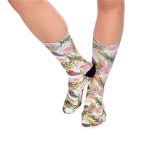 Shop Cheapest Harajuku Women Socks Funny 3D Full Print Tropical Flower Ombre Casual Fitness Hosiery