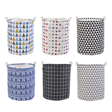 1pc Loozykit Large Laundry Basket Clothes Storage Bag Home Clothes Print Bins Kids Toy Storage Household Folding Laundry Bucket