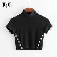 TC Women Turtleneck Crop Tops Fashion Rivet Decorated Short Sleeve Women Top Tees 2017 Women T
