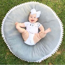 Ultra Soft Baby Seat Lounger Toddler Floor Pillow With White Pom Poms Edge Best Seating Cushion & Play Mat For kids And Children