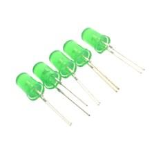 50 шт./лот 5 мм зеленые волосы Выделите трубки светодиодный светоизлучающих diodegreen излучения трубки зеленый светодиодный