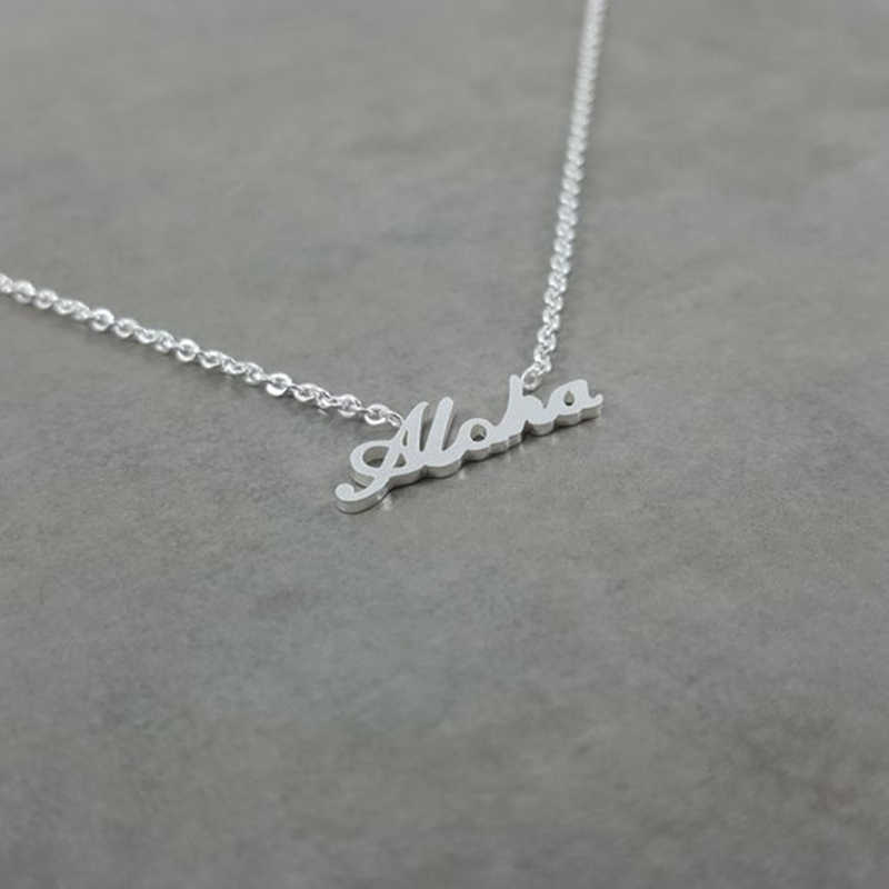 Hawaiian Lettering Ketting Collares Gold Cursive Aloha Necklace Women Jewelry Stainless Steel Collier Femme Best Friend Gift