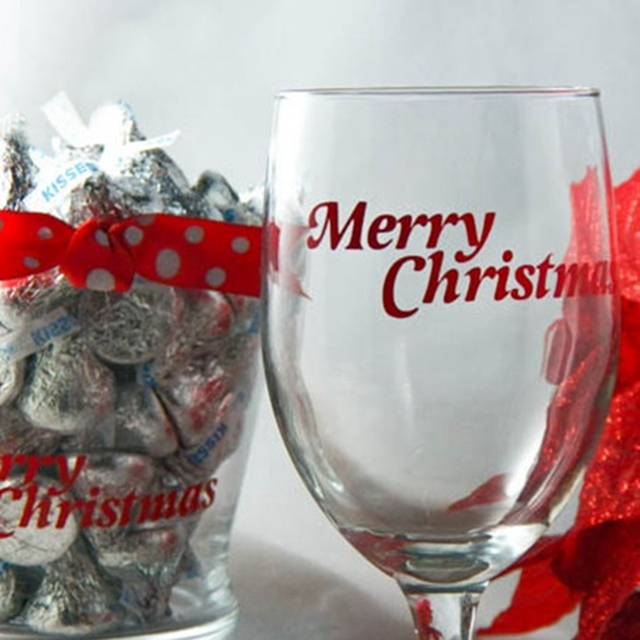 4pcs diy merry christmas decal stickers wine glass gift bags christmas decoration accessories