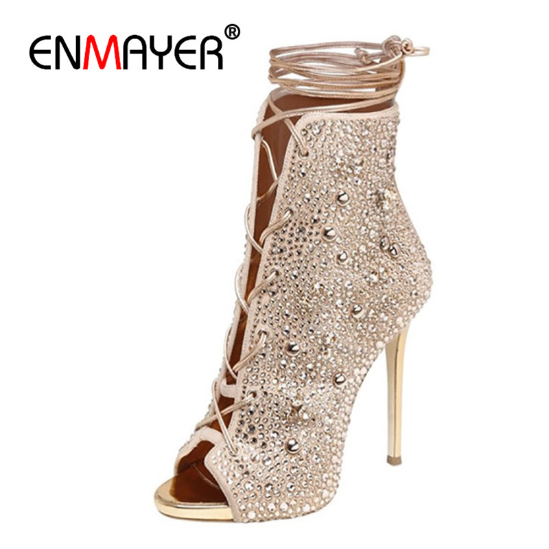 цена ENMAYER Cross-tied Shoes Woman High Heels Peep Toe Summer Boots Solid Motorcycle Boots Lace-up Ankle Boots Thin Heels Size 43