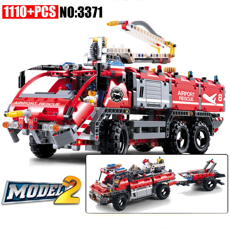 3371 2in1 Airport rescue vehicle 1110pcs technic car model Toy building blocks bricks compatible 42068 boy gift new lepins technican technics airport fire rescue vehicle 2in1 building block model truck trailer bricks toy collection for kids