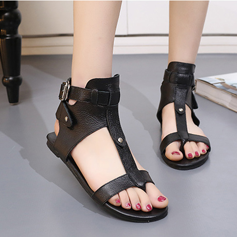 Women's Sandals Summer Genuine Leather Roman Style Women Sandals Flat Casual Shoes New Fashion Black Shoes Ladies Shoes EE-198 gladiator women s sandals 2018 summer new casual shoes women s shoes european roman style zipper bag with flat women s sandals