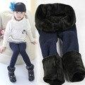 Nova Pele do Inverno Meninas Leggings Calças Dos Miúdos Das Crianças Leggings de Algodão Calças Menina Quente Grossa Cintura Elástica Colorida