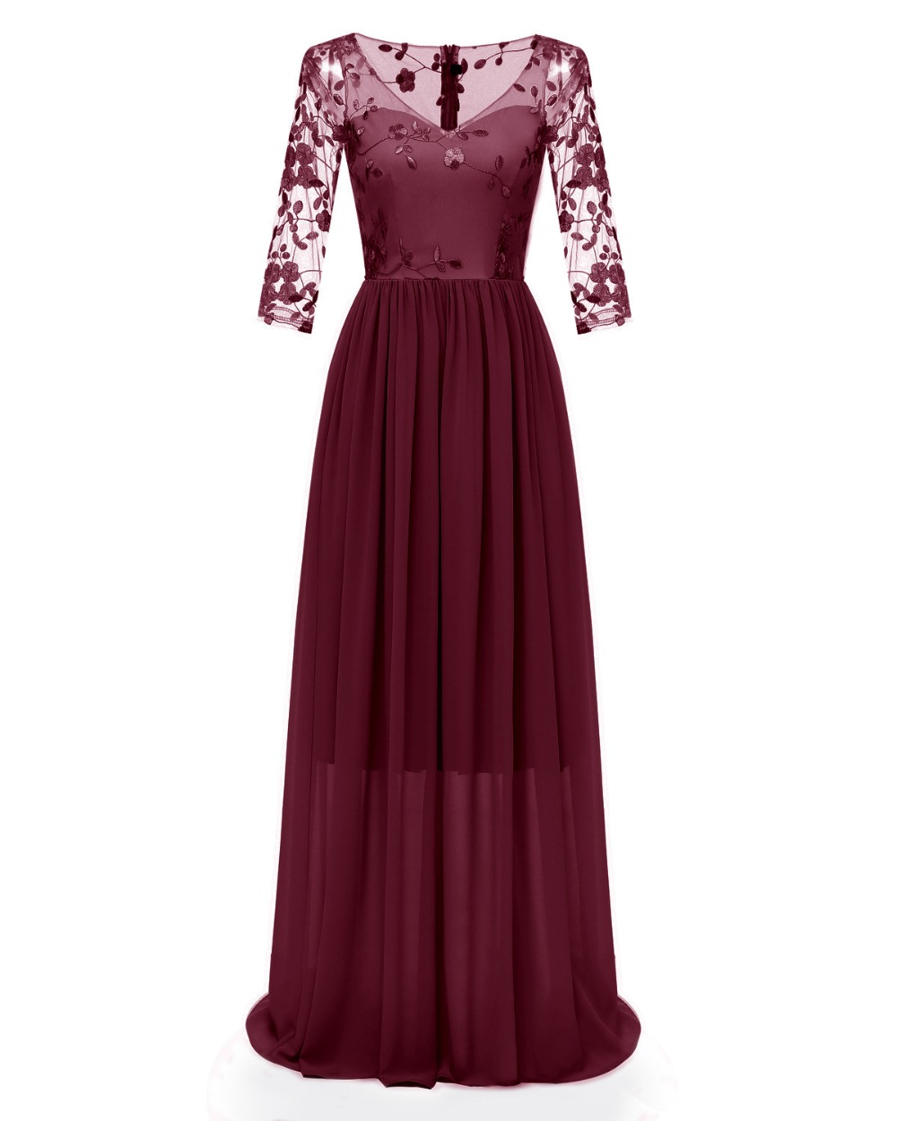 Women Floral Embroidery Lace Illusion Long Dress 3/4 Sleeve Sheer Back Maxi Dress Floor Length Formal Party Dress 3