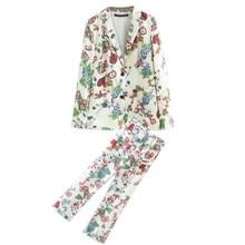 Купить с кэшбэком Women's suit female  ethnic style beach holiday clothing flower pattern printing jacket + casual pants pajamas two / piece suit