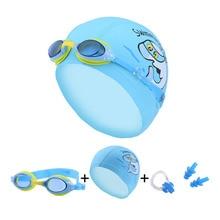 Child Swimming Caps Diving Glasses Earplug Set Waterproof Anti Fog Kids Pool Swim Eyewear Silicone Boy Girl goggles