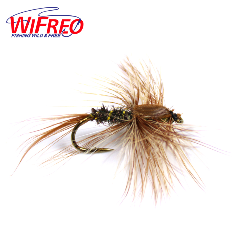 Wifreo 10PCS #8 Brown Hackle Golden Rib Herl Peacock Nymph Spinner Baetis Fly Bait Trout Fly Fishing Flies & Lures 10pcs 14 wifreo foam trout fishing dry fly mayfly caddis