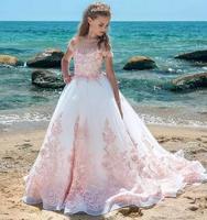 Новый розовый Обувь для девочек Нарядные платья Sheer Средства ухода за кожей Шеи Кепки рукава Аппликации Кружево Строгая детская одежда Свад