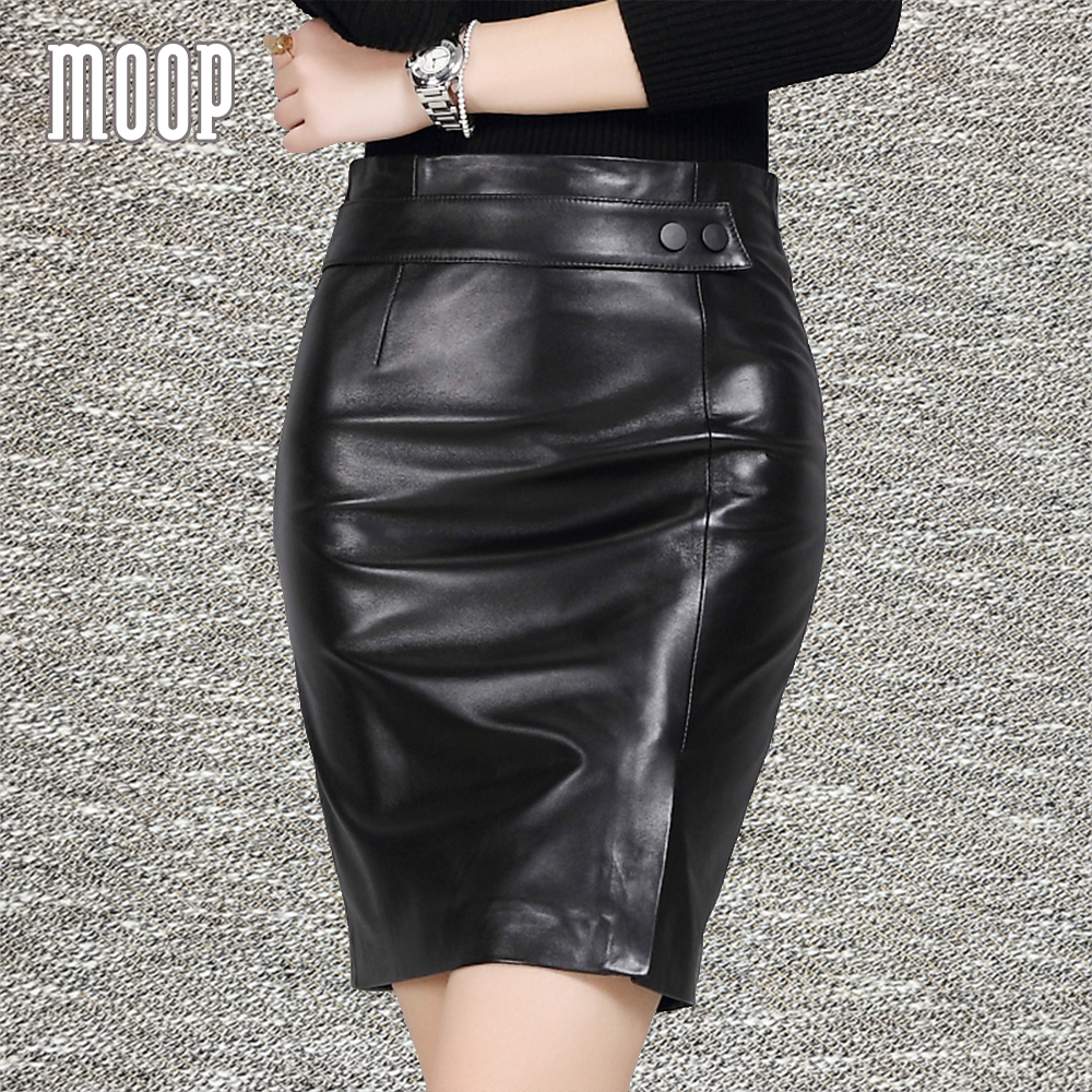 Glossy black leather pencil skirt women grained lambskin short slim skirt with split faldas jupe saia etek LT1208 Free shipping women s maxi pencil skirt in pu leather
