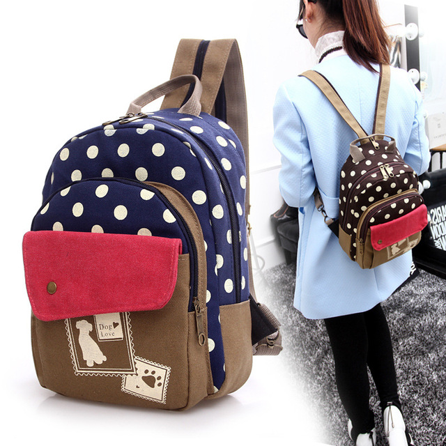 Aliexpress.com : Buy polka dots patchwork casual woman backpack ...