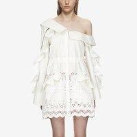 Self Portrait Dress 2018 Spring Desinger Women Long Sleeve Ruffles Embroidery Cotton Dress Loose Casual White