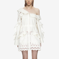Self Portrait Dress 2018 Spring Desinger Women Long Sleeve Ruffles Embroidery Cotton Dress Loose Casual White