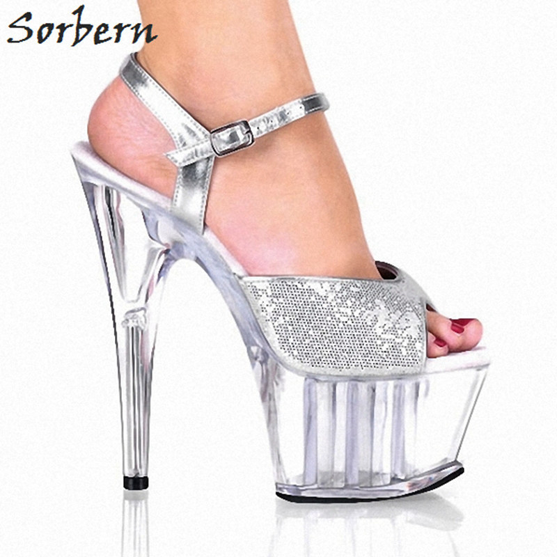 цена Sorbern Silver Sequins Open Toe Heels Womans Shoes Fashions 2018 Clear Shoes 15Cm High Heels 5Cm Platform Thick Sole Custom