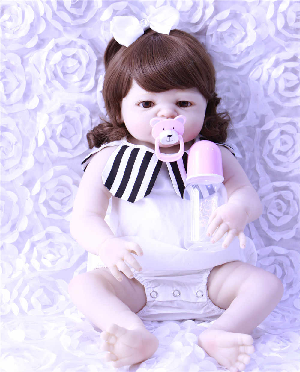 55 см Реалистичная Очаровательная кукла для малышей мягкие виниловые куклы для новорожденных ручной работы полностью силиконовые 22 дюймов вьющиеся волосы принцессы для малышей распродажа
