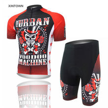 XINTOWN Cycling Bicycle Bike Short Sleeve Jersey Ropa Ciclismo Comfortable Bib Short Shirt Set for Men Red Devils