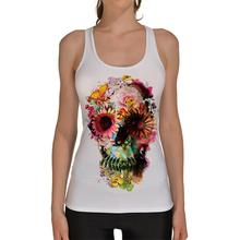 White Sports Tank Tops Women Sexy Sleeveless T Shirt Clothes Elastic Yoga Running Vests Camisole Skull