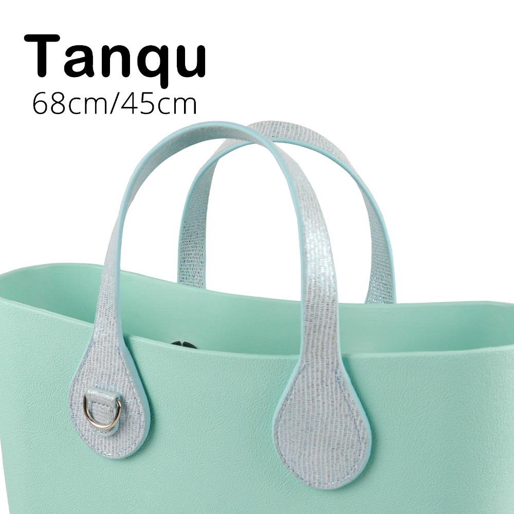 Tanqu New Long Short Gilding Handle Edge Painting D Buckle Round Teardrop End Handle Faux Leather Handles For OBag For EVA O Bag