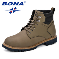 BONA Men Low Flat Ankle Winter Autumn Boots Casual Martin Shoes Men Fashion Male Boots Trendy Outdoor Leather Footwear Plus Size
