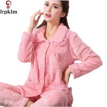 2017 Flannel Fleece Winter Women Pajama Sets sleepwear Thick and comfortable Women Feminino home Mujer  Entero Pyjamas SY233