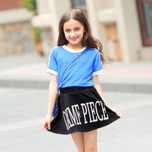 2016 Girls Summer Evening Frock Cotton Designs Dresses Set Shirt And Skirts Kids Party Dress For