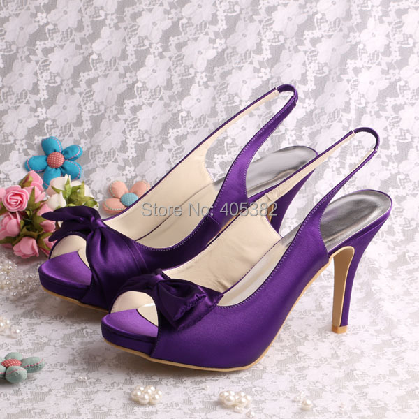 20 Colors)Hot Selling Purple Satin Ladies Bow Sandal Shoes ...