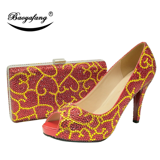 BaoYaFang Red crystal women Wedding shoes with matching bags Bride High  heels platform shoes and purse sets Woman Peep Toe Pumps fd93f0bdeb36