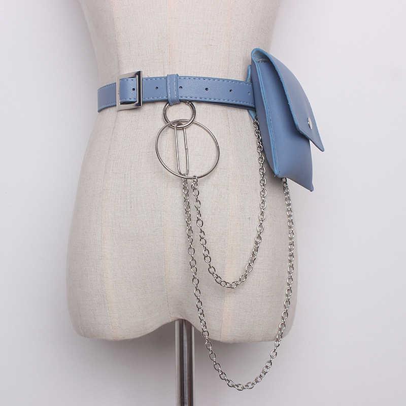 Mihaivina 女性の革女性ベルトチェーンバッグファッションファニーパックウエストベルトバッグ女性ヒップベルトボムポーチ電話バッグ
