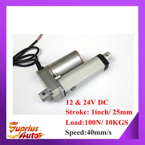 цена на 12V or 24V DC 1inch/ 25mm Stroke, High Speed 40mm/s Mini Linear Actuator With 100N Lift Force