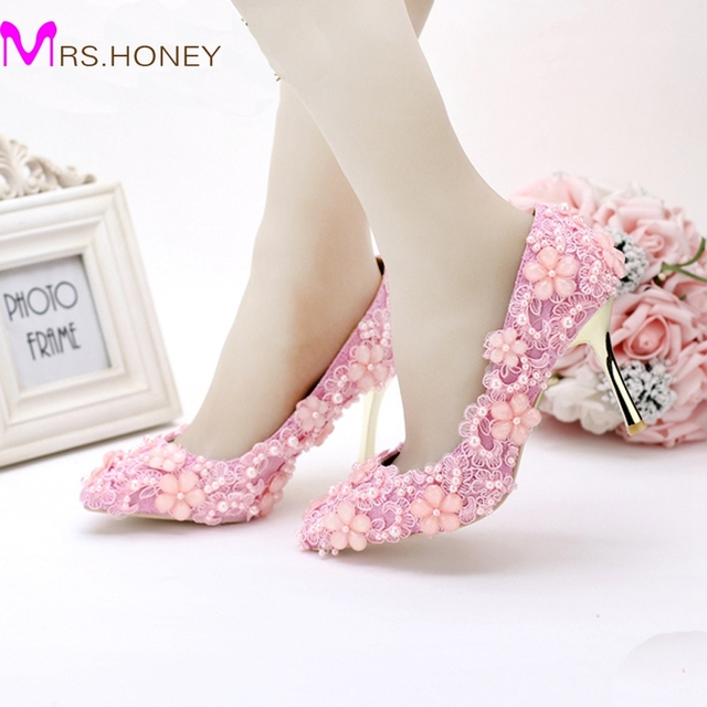 2016 Lovely Pink Pearl Lace Wedding Shoes Pointed Toe High Heeled Emmy Bridal Mother