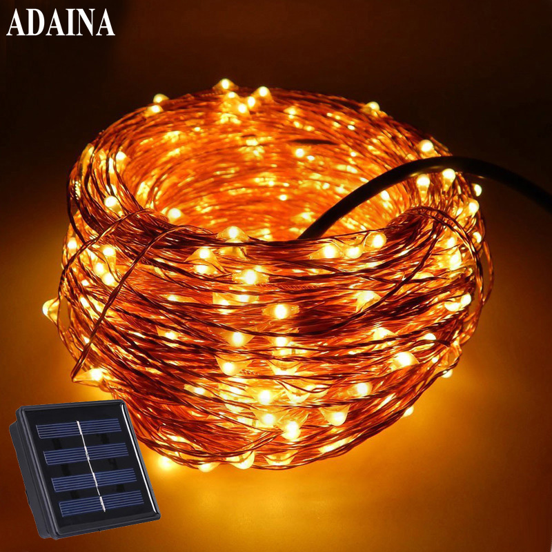 33FT 10M 100 LEDs LED LED Solar Lamp Light Solaris Panel Koppar Wire String Light Outdoor Fairy Lamp För Wedding Christmas