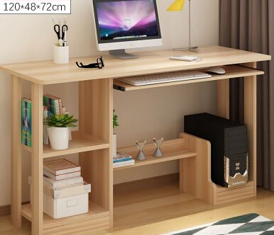 Купить с кэшбэком Home computer desk desktop 1.2 meters. With 90 contracted and contemporary long desk bookcase combination table