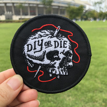 Pulaqi Fashion Punk Skull Patch Diy Embroidery Sew On Clothes Sew-on Sticker Arm Badge Decor For T-Shirt Jeans Hat Garment H