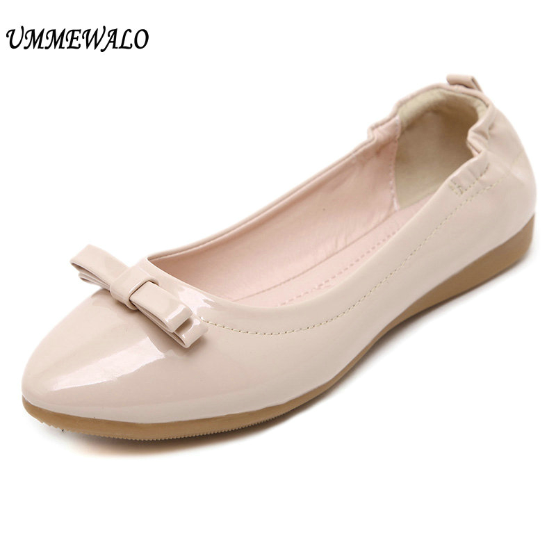 UMMEWALO Paten Leather Flat Shoes Women Casual Pointed Toe Soft Ballet Shoes Ladies Bow Designer Rubber