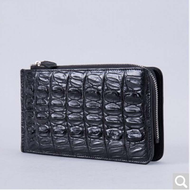 Gusheng Thai crocodile man card bag genuine leather business crocodile mobile phone bag large capacity wallet black zuoyi crocodile leather original zipper snap multifunctional in large capacity and long wallet