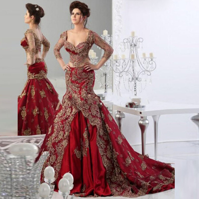 Saudi Arabia Burgundy Evening Gowns Mermaid Appliques Elegant ...