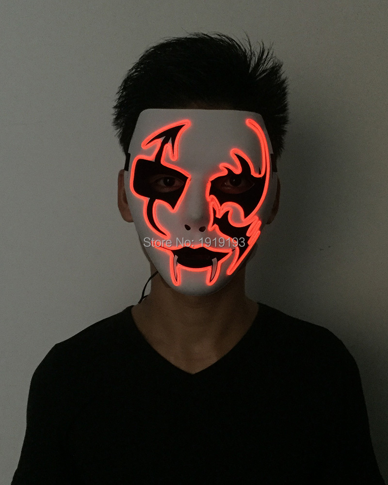 New 2017 Fashion Grotesque Led Bulbs Bar Night Fluorescent Light Up Mask Neon Led Light Sound Control Party Mask by DC3V Driver new arrival colorful neon led bulbs melbourne shuffle dance costume night lamp el wire bright ghost step suit for concert party